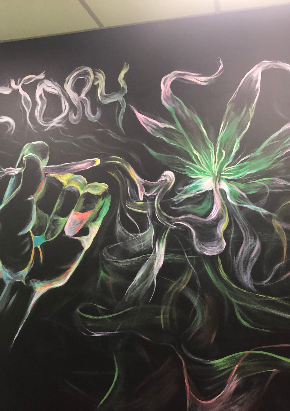 420 glow in the dark Mural/ 10×15 ft