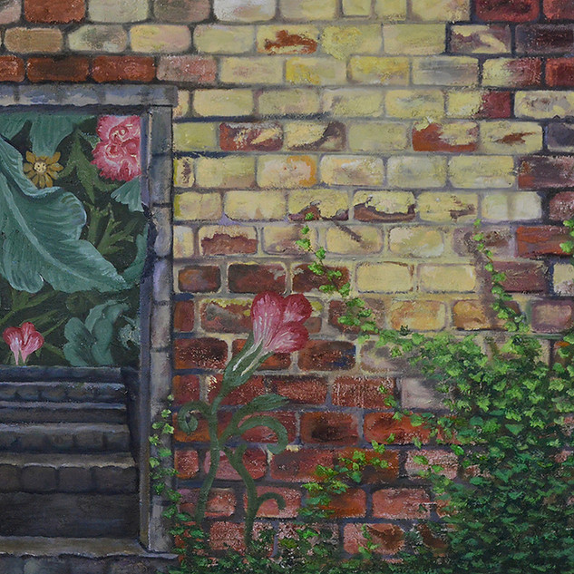 """""""Beyond the Brick wall"""" 24 x 36 , Oil on"""