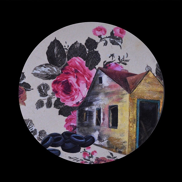 """""""Detroit Pink House"""" 12 inch, Oil on fab"""