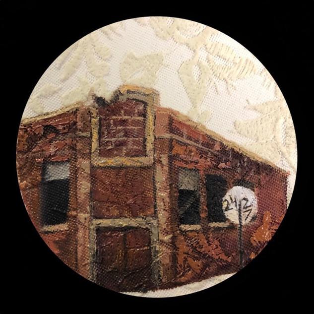 """The empty school"" 5 inch, Oil on fabric"