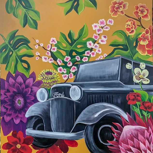 """""""Ford Florals""""  4x4  Acrylic on wood panel"""
