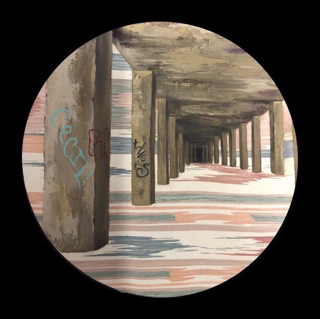 """Abandoned Bridge""  18 inch, Oil on fabr"