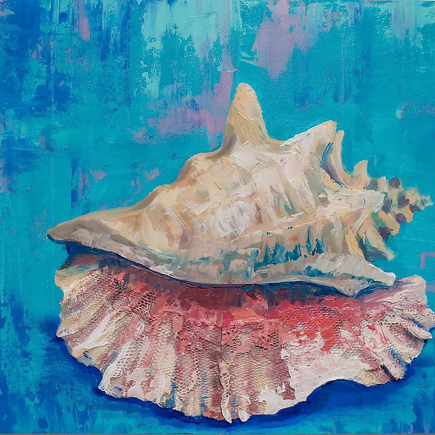 """""""Conch""""  8x10 inch  Oil and lace on wood"""