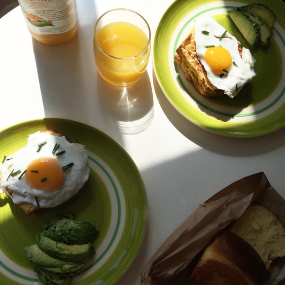 Breakfast Brioche Croque Madame with Lime Fleur De Sel Avocado Recipe