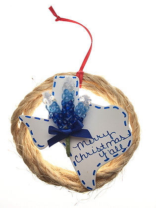 Rope Wreath, White Texas & Bluebonnet Ornament