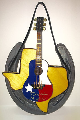 Texas Music Guitar Horseshoe Decor