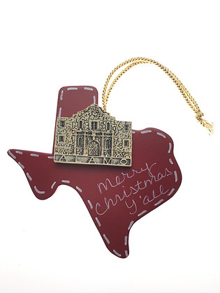 Alamo on Red Texas Ornament