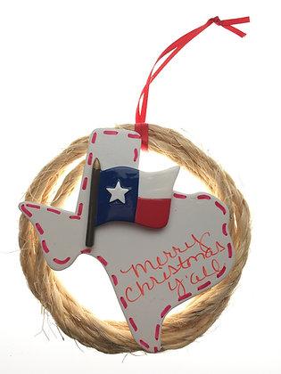 Rope Wreath w/ Texas Flag Christmas Ornament