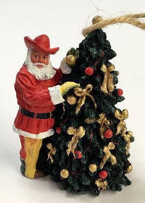 Santa w/ Christmas Tree Ornament