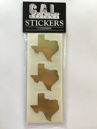 Metallic Gold Texas Stickers