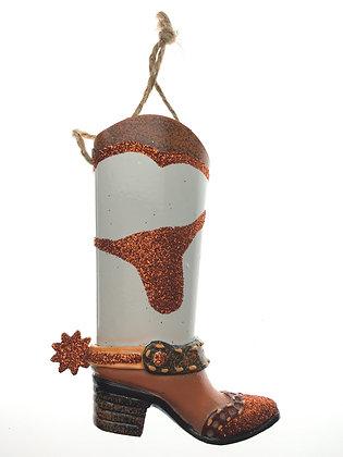 Metal Longhorn Boot Ornament