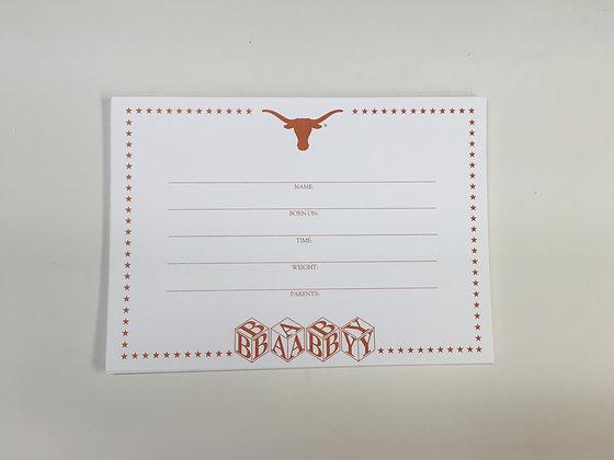 University of Texas Baby Invitation FI