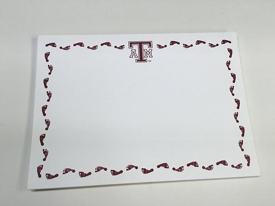 Texas A & M Baby Footprint Invitation