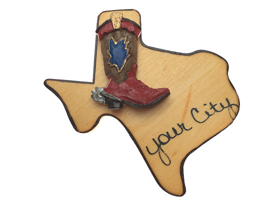 Cowboy Boot on Texas Magnet
