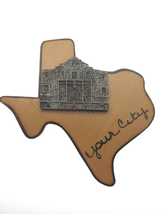 Wood Texas w/ Alamo Magnet