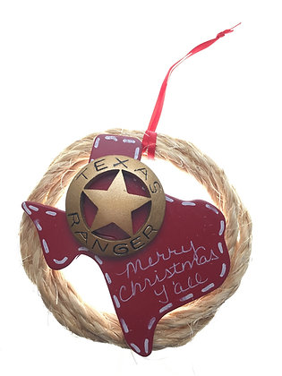 Ranger Badge on Texas in Rope Wreath Ornament