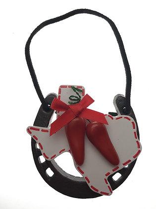 Horseshoe with Chili Texas Ornament