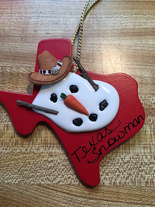 Texas Melted Snowman Ornament