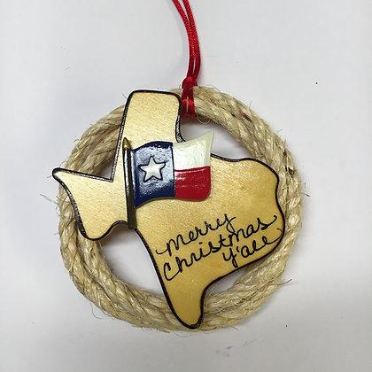 Texas Flag Rope Ornament