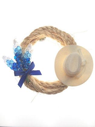Bluebonnet Rope Magnet W/ Cowboy Hat