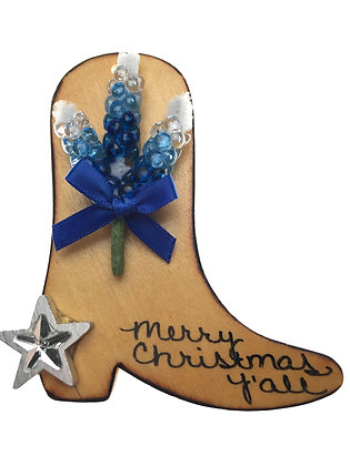 Boot with Bluebonnets Christmas Ornament