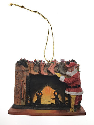 Santa Fireplace Ornament
