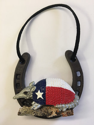 Horseshoe Ornament w/ Texas Flag Armadillo