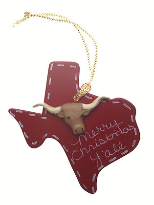 Longhorn on Red Wood Texas Ornament