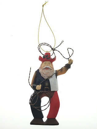 Red, White, and Blue Santa w/ Lariat Ornament