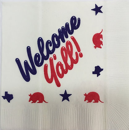 Welcome Y'all Texas Beverage Napkins