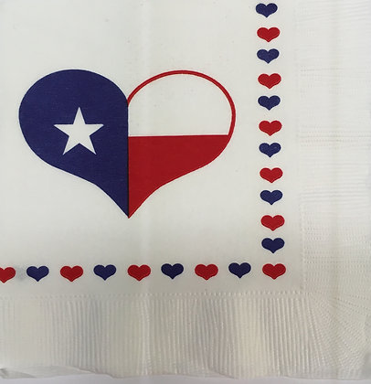 Texas Flag Heart Beverage Napkin