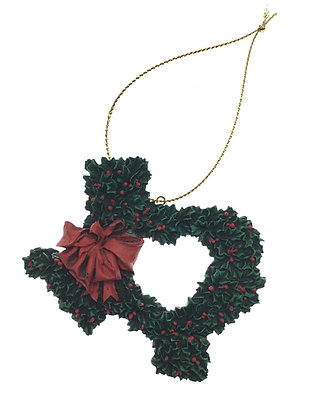 Texas Shape Holly Wreath Ornament
