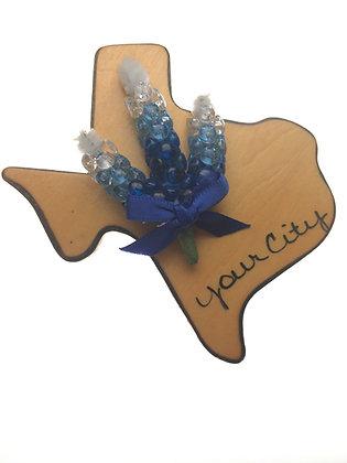 Wood Texas w/ Bluebonnet Magnet