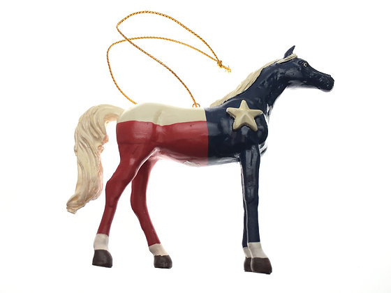 Texas Flag Horse Ornament