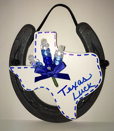 Large Bluebonnet Texas Horseshoe Decor