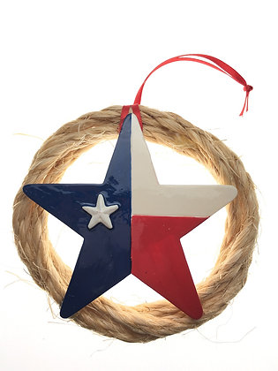Rope Wreath w/ Star Flag