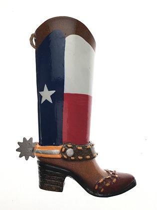 Texas Flag Metal Boot Ornament