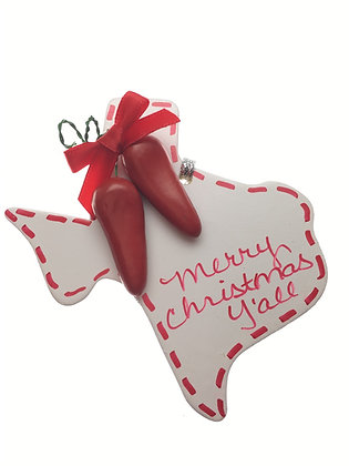 White Texas Chili Pepper Ornament