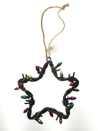 Star Barbed Wire Ornament w/ Christmas Lights