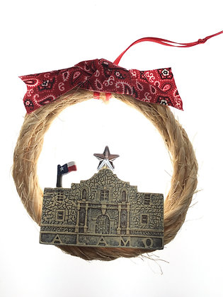 Rope Wreath with Christmas Alamo