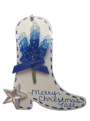 Boot w/ Bluebonnet Christmas Ornament