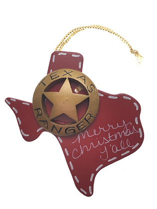 Ranger Badge on Red Wood Ornament