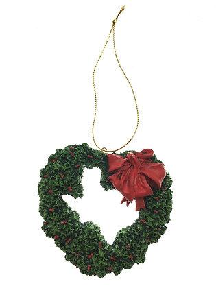 Heart Holly Wreath Ornament