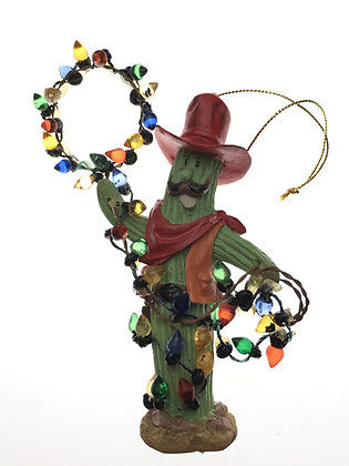 Festive Saguro Cactus w/ Lasso Lights Ornament