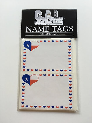 Flag Heart Name Tags