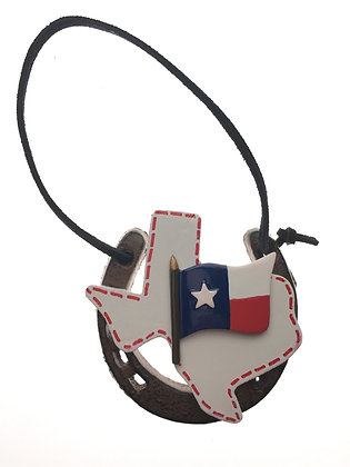 Horseshoe Ornament W/ White Texas & Flag