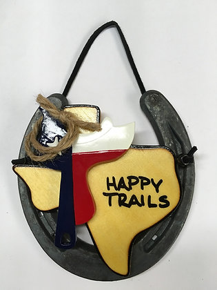 Horseshoe Saddle Texas Flag - Happy Trails