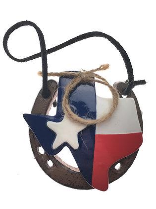 Horseshoe Ornament w/ Texas Flag