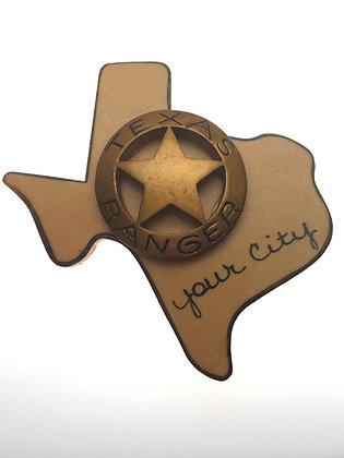 Texas Ranger Badge on Texas Magnet