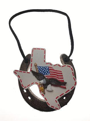 American Flag Eagle Horseshoe Ornament